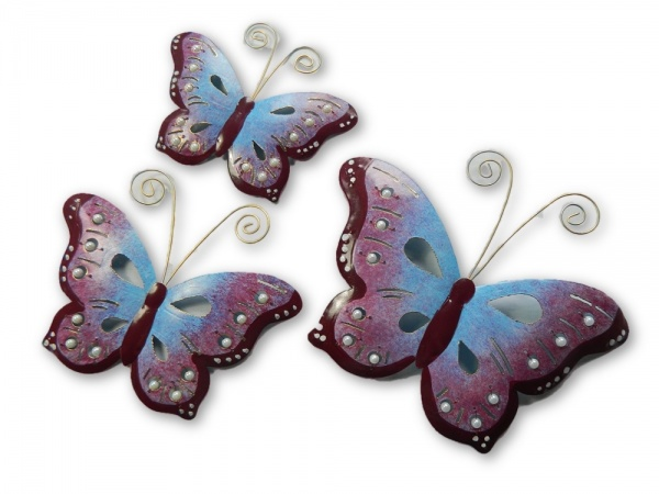 Metal Butterfly Wall Art - Purple - Set of 3